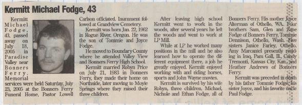 Fodge, Kermitt Michael 1962 2005 - New Obituaries